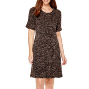 Tiana B. Short-Sleeve Knit Trapeze Dress - Tall