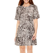Tiana B. Raglan-Sleeve Print Knit Trapeze Dress - Tall