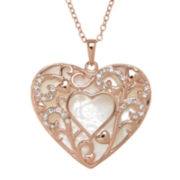 Crystal-Accent Mother-of-Pearl 14K Rose Gold Over Sterling Silver Heart Pendant Necklace