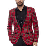 WD-NY® Plaid Shawl Collar Tuxedo Jacket - Slim Fit