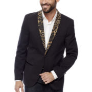 WD-NY® Black Leopard Shawl Collar Tuxedo Jacket - Slim Fit