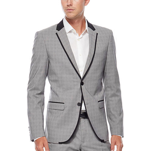 WD.NY Gray Plaid Suit Jacket - Slim Fit