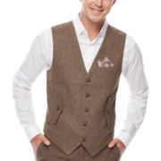 WD.NY Brown Twill Suit Vest - Slim Fit