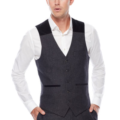WD.NY Charcoal Twill Suit Vest - Slim Fit