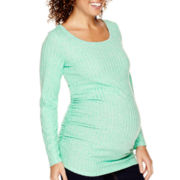 Maternity Long-Sleeve Ruched-Side Scoopneck Top