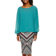 by&by Jeweled-Cuff Blouse or Scuba Knit Midi Skirt