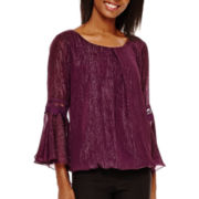 by&by Bell-Sleeve Crochet-Inset Chiffon Top