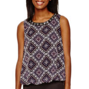 by&by Sleeveless High-Low Neck-Trim Top