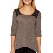 by&by Elbow-Sleeve Knit Lace-Yoke Tunic