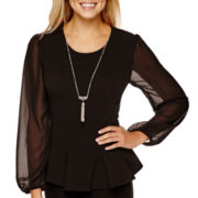 by&by Long-Sleeve Necklace Peplum Blouse