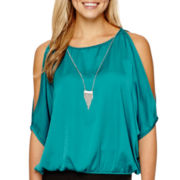by&by Short-Sleeve Elastic-Hem Necklace Top