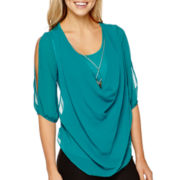 by&by Elbow-Sleeve Cold-Shoulder Necklace Top