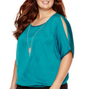 by&by Short-Sleeve Elastic-Hem Necklace Top - Plus