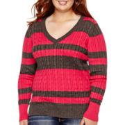 Arizona Long-Sleeve V-Neck Baby Cable Sweater - Plus