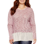 Arizona Long-Sleeve Layered Hatchi Top - Juniors Plus