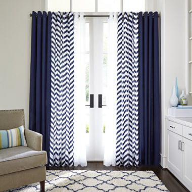 Curtains Ideas curtains jcpenney home collection : JCPenney Home™ Cotton Classics Broken Chevron Grommet-Top Curtain ...