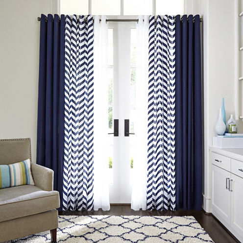 JCPenney Home™ Cotton Classics Broken Chevron Grommet-Top Curtain ...