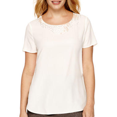 jcpenney.com | Liz Claiborne® Short-Sleeve Beaded Woven T-Shirt - Tall