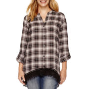 Wallpapher 3/4-Sleeve Madras Plaid Tunic