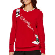 Alfred Dunner® Long-Sleeve Penguin Motif Fleece Top