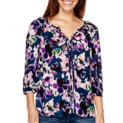 St. John's Bay® Long-Sleeve Split-Neck Peasant Top
