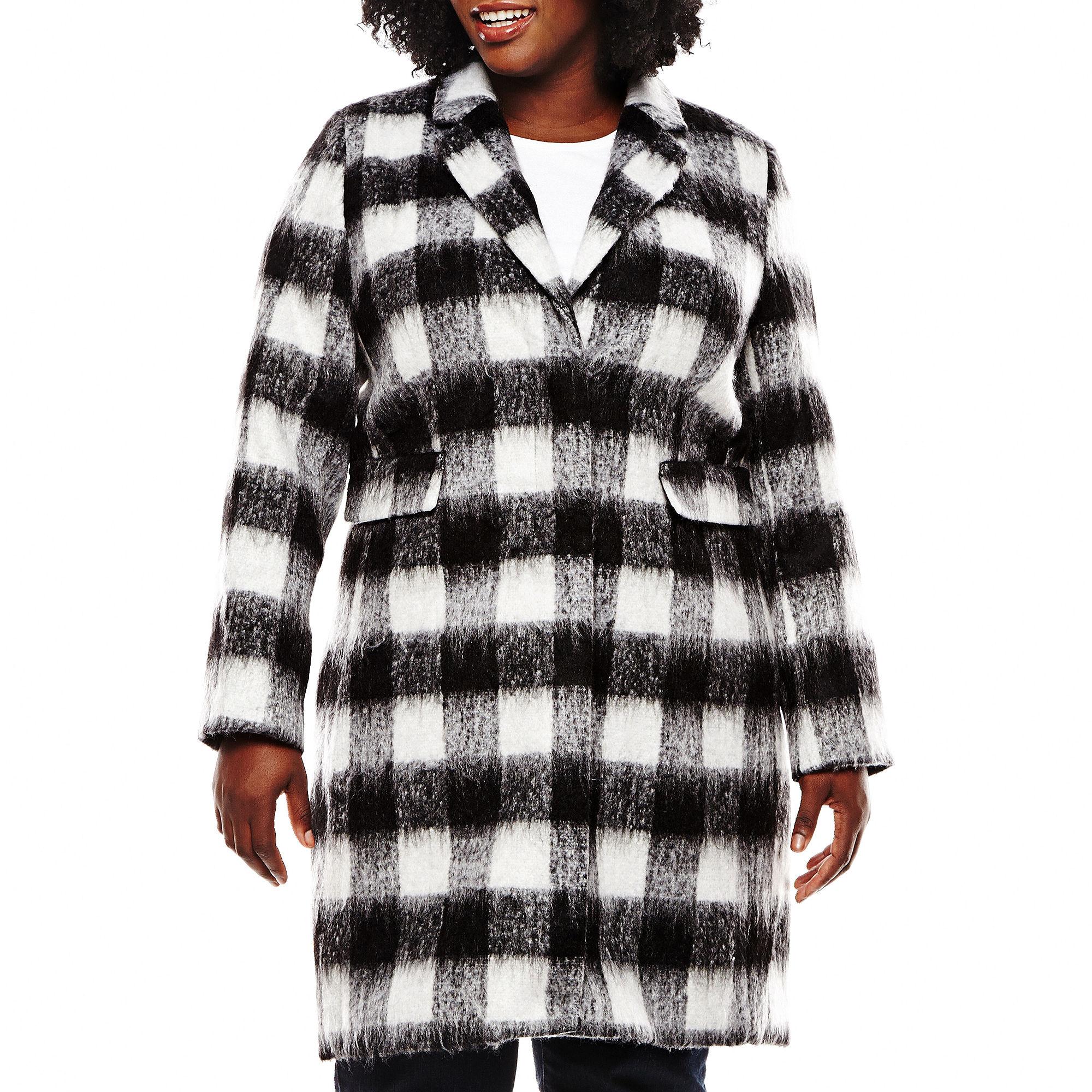 Liz Claiborne Wool-Blend Walking Coat - Plus