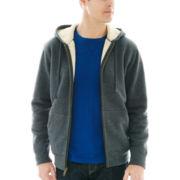 St. John's Bay® Sherpa-Lined Full-Zip Hoodie