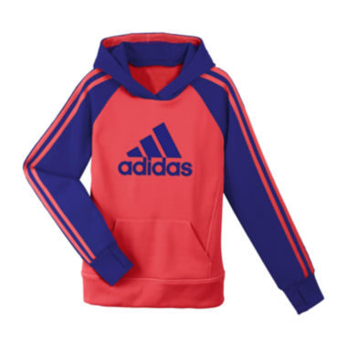 jcpenney.com | adidas® Striped Knit Pullover Hoodie - Girls 7-16