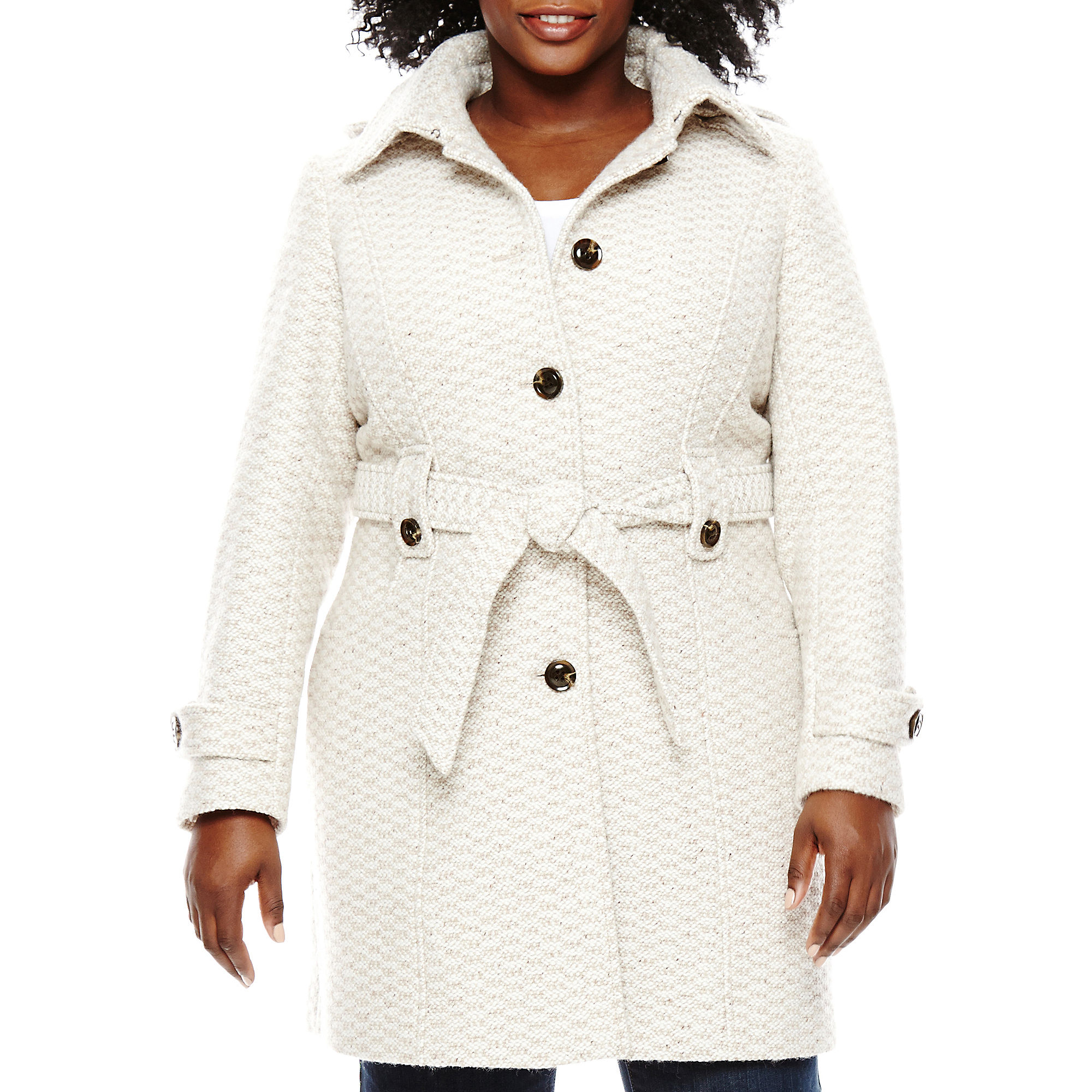 Liz Claiborne Single-Breasted Belted Wool-Blend Jacket - Plus