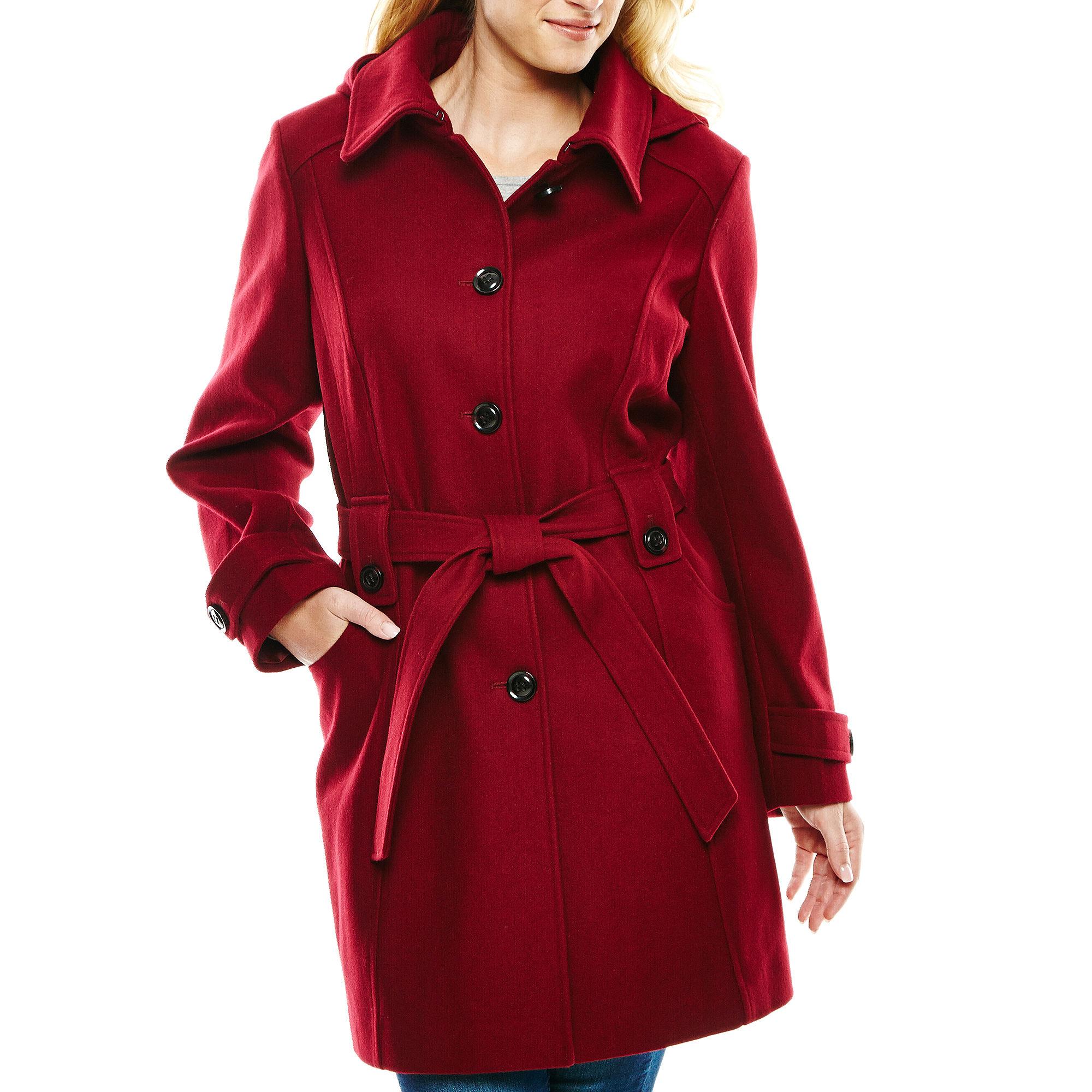 Liz Claiborne Single-Breasted Belted Wool-Blend Jacket - Plus