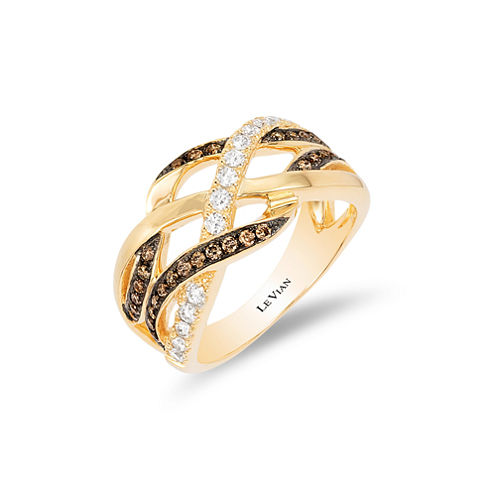 Grand Sample Sale™ by Le Vian® 5/8 CT. T.W. Chocolate Diamonds® & Vanilla Diamonds® in 14k Honey Gold™ Chocolatier® Gladiator Weave™ Ring