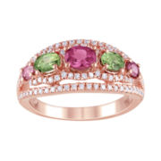 5-Stone Genuine Pink & Green Tourmaline & CZ Ring
