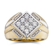 Mens Two-Tone Cubic Zirconia Ring