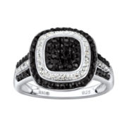 Sterling Silver Black & Clear Crystal Square Ring