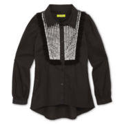 Dreampop® by Cynthia Rowley Sequined-Front Woven Shirt - Girls 6-16