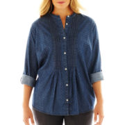 St. John's Bay® Denim Pintuck Shirt - Plus