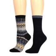 Mixit™ 2-pk. Fairisle Crew Socks