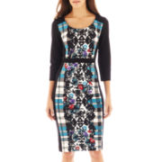 nicole by Nicole Miller® 3/4-Sleeve Print Scuba Knit Dress