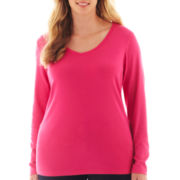 jcp™ Long-Sleeve V-Neck Tee - Plus