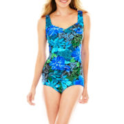 Azul by Maxine of Hollywood Shirred-Front 1-Piece Swimsuit