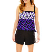 Azul by Maxine of Hollywood Blouson Swim Top or Woven Shorts