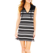 Wearabouts Sleeveless Striped Hoodie Dress Cover-Up
