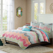 Mi Zone Emma Chevron Striped Quilt Set