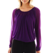 Worthington® Long-Sleeve Pleat-Neck Mesh Top with Cami