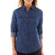 St. John's Bay® Roll-Sleeve Denim Campshirt
