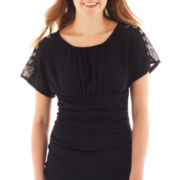 by&by Short-Sleeve Ruched Embellished Top