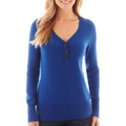 St. John's Bay® Long-Sleeve Henley Sweater