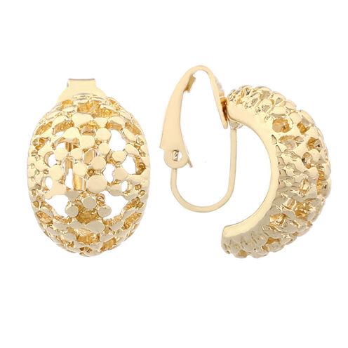 Liz Claiborne Goldtone Pebbled Clip On Earrings