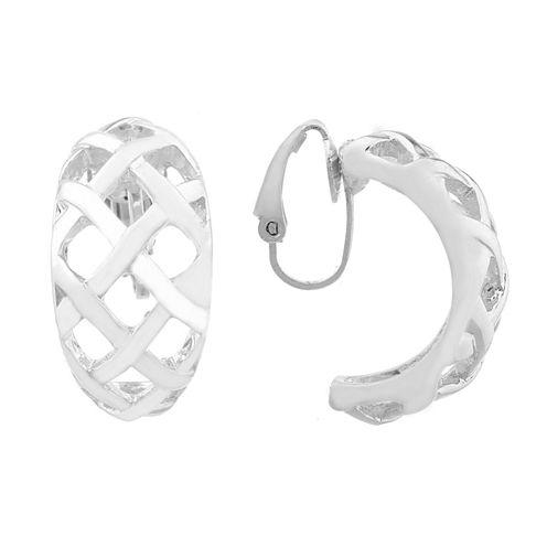 Liz Claiborne Silvertone Weaved Hoop Clip On Earrings