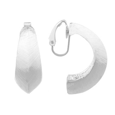 jcpenney.com | Liz Claiborne Silvertone Textured Hoop Clip On Earrings